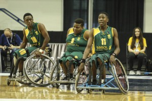 Simangaye Shabalala, Gcina Musawenkosi Dlamini and Ayabonga Jim of South Africa during the Mens u23 World Wheelchair Basketball Championship game between South Africa and Germany at the Mattamy Athletic Centre in Toronto, Canada on June 8 2017©Barry Aldworth/eXpect LIFE